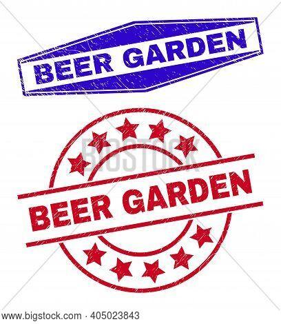 Beer Garden Stamps. Red Circle And Blue Squeezed Hexagonal Beer Garden Seals. Flat Vector Grunge Sta