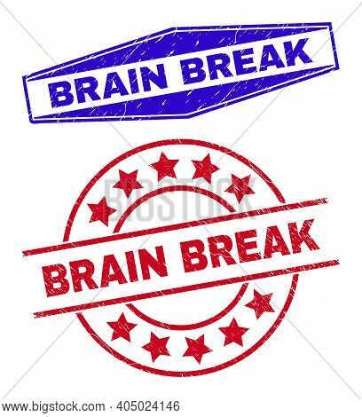 Brain Break Badges. Red Rounded And Blue Stretched Hexagon Brain Break Rubber Imprints. Flat Vector