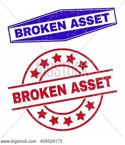 Broken Asset Stamps. Red Circle And Blue Extended Hexagonal Broken Asset Seal Stamps. Flat Vector Gr