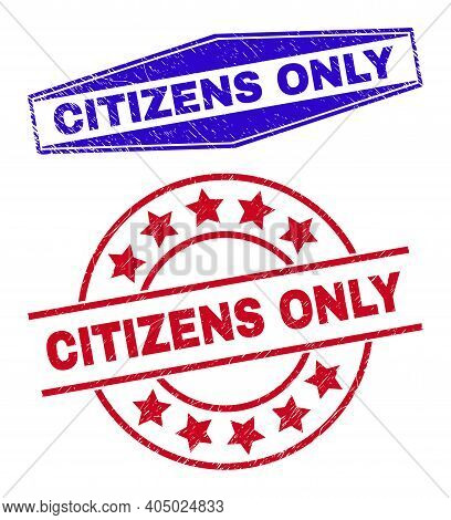 Citizens Only Stamps. Red Round And Blue Stretched Hexagonal Citizens Only Seal Stamps. Flat Vector