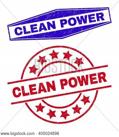 Clean Power Badges. Red Round And Blue Extended Hexagon Clean Power Watermarks. Flat Vector Scratche