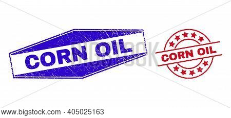 Corn Oil Badges. Red Round And Blue Squeezed Hexagonal Corn Oil Rubber Imprints. Flat Vector Grunge