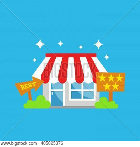 Best Shop Store Of The Month With Five Stars And Recommended Illustration Icon