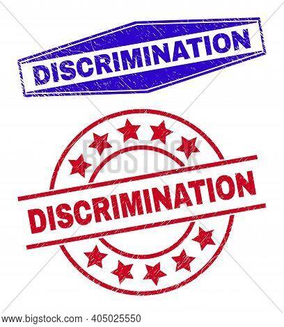 Discrimination Badges. Red Circle And Blue Flatten Hexagon Discrimination Watermarks. Flat Vector Sc