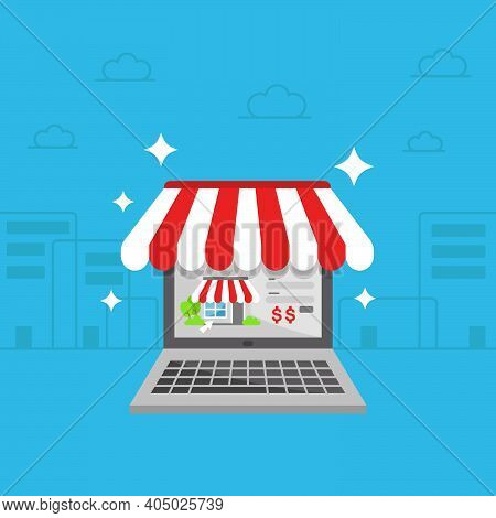 Online Shop Store On Laptop Or Personal Computer Pc Flat Illustration With Modern City Background