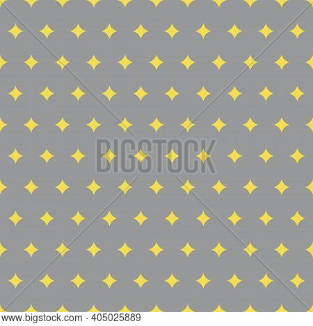 Yellow Twinkles Seamless Pattern On Trendy Gray Background. Colors Of The Year 2021. Cute Yellow Twi