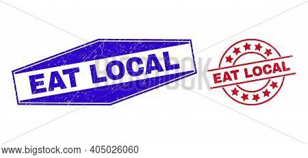Eat Local Stamps. Red Rounded And Blue Compressed Hexagon Eat Local Watermarks. Flat Vector Grunge S