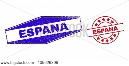 Espana Stamps. Red Circle And Blue Stretched Hexagonal Espana Stamps. Flat Vector Scratched Watermar