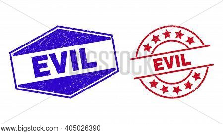 Evil Badges. Red Rounded And Blue Stretched Hexagonal Evil Rubber Imprints. Flat Vector Scratched Se