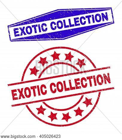 Exotic Collection Stamps. Red Rounded And Blue Expanded Hexagon Exotic Collection Seal Stamps. Flat