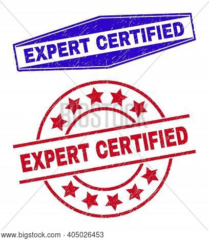 Expert Certified Stamps. Red Round And Blue Extended Hexagonal Expert Certified Seal Stamps. Flat Ve