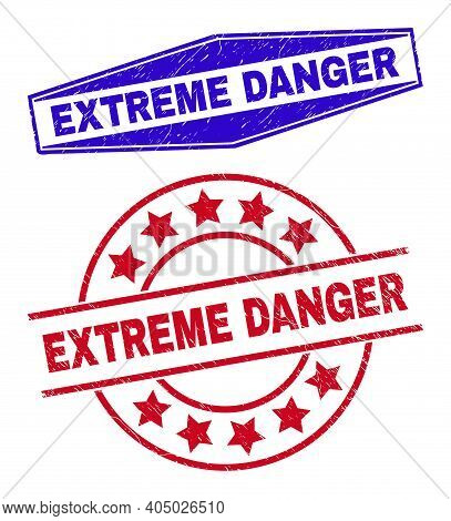 Extreme Danger Badges. Red Circle And Blue Expanded Hexagon Extreme Danger Watermarks. Flat Vector D