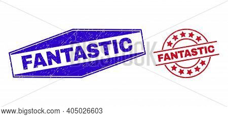 Fantastic Stamps. Red Circle And Blue Compressed Hexagonal Fantastic Seal Stamps. Flat Vector Textur