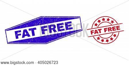 Fat Free Stamps. Red Round And Blue Compressed Hexagon Fat Free Rubber Imprints. Flat Vector Grunge