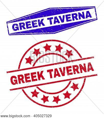 Greek Taverna Stamps. Red Rounded And Blue Flatten Hexagonal Greek Taverna Seal Stamps. Flat Vector