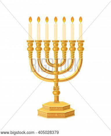Menorah. Menorah Flat Illustration. Chanukah Candlestick, Symbol Of Happy New Year. Biblical Candela