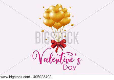 Design Valentine's Day Celebration, Balloons, Hearts, Balloon Icons, Gold Balloons, Red Ribbons, Val