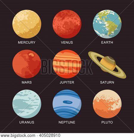 Vector Illustration Of Isolated Solar System Planets: Mercury, Venus, Earth, Mars, Jupiter, Saturn,
