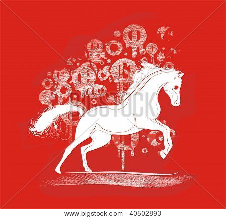 background with running horse