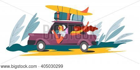 People In Camper Van And Surfboards On Vacation