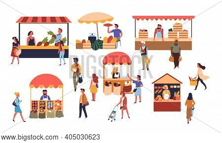 Vendors And Customers Market Tents And Counters Fruits And Vegetables Pastry Vector
