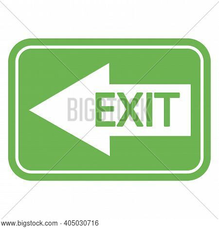 Green Fire Exit Sign. Left Arrow On Green Background. Exit Inscription On The Arrow. Stock Image. Ep