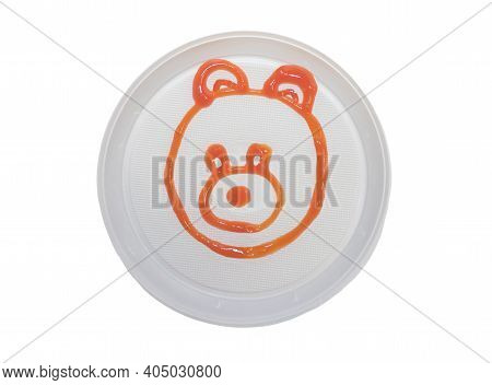 Teddy Bear In A Plate With Ketchup, Teddy Bear On A White Plate Drawn With Sauce, Plate With A Teddy