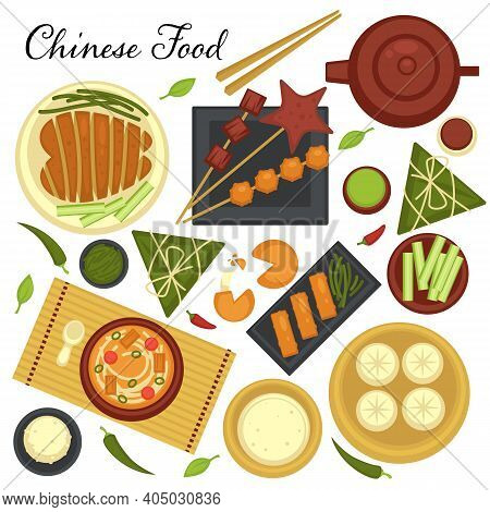 Chinese Cuisine Menu, Set Of Dishes And Traditional Recipes From Asian Country. Soups And Meat On Pl