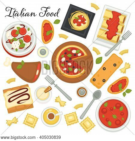 Italian Cuisine Of European Country, Menu With Pasta, Pizza And Desserts. Served Sweets, Snacks And