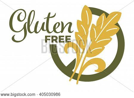 Vector Illustration Of Gluten Free Words And Cereal Isolated On White.