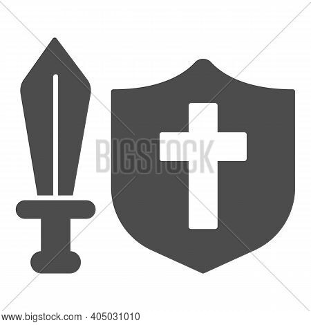 Medieval Sword And Shield Solid Icon, Fairytale Concept, Medieval Weapon Sign On White Background, C