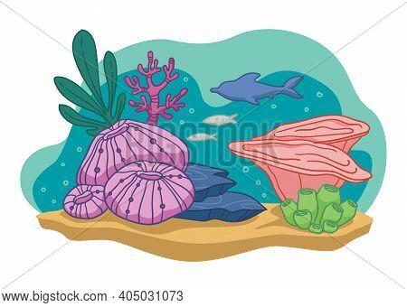 Aquarium Or Ocean, Sea Bottom With Flora And Fish