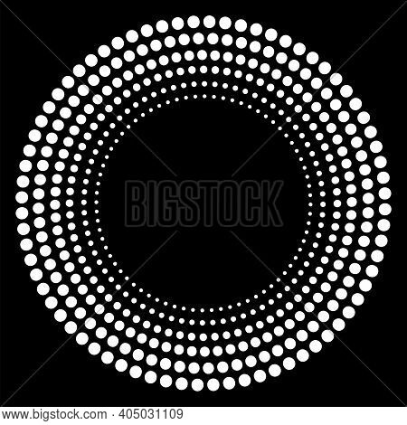 Circle Of White Dots. Round Shape. Abstract Circle Geometric Shape. Dark Background. White Holiday T