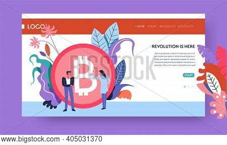 Cryptocurrency Marketplace Internet Web Page Template Bitcoin Stock Exchange Vector Online