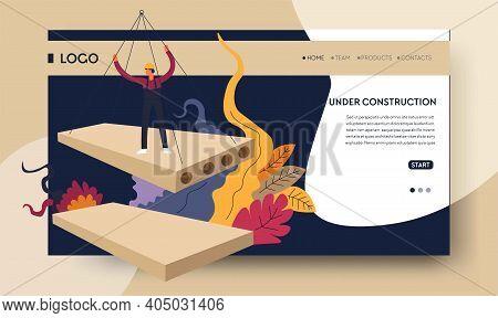 Building Industry Construction Process Online Web Page Template Vector Concrete House