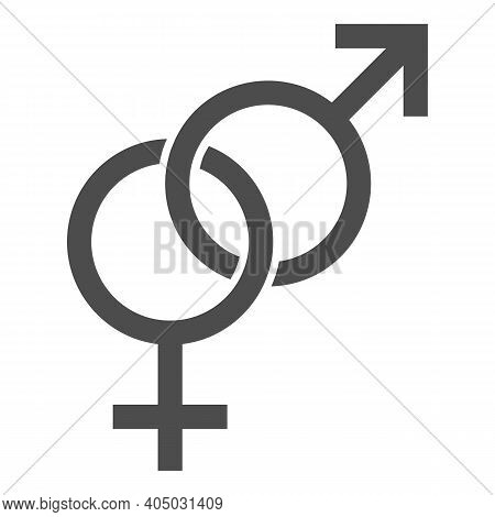 Heterosexual Symbols Solid Icon, Valentines Day Concept, Male And Female Sign On White Background, G