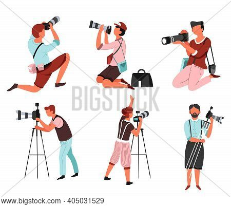 Photo Camera And Photographers Men And Women With Isolated Male And Female Characters Vector