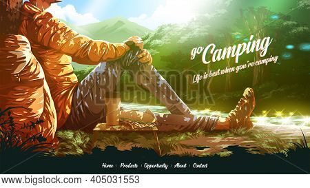 Vector Illustration For A Landing Page Of The Backpacker Is Enjoying A Sandwich And A Coffee Near Th