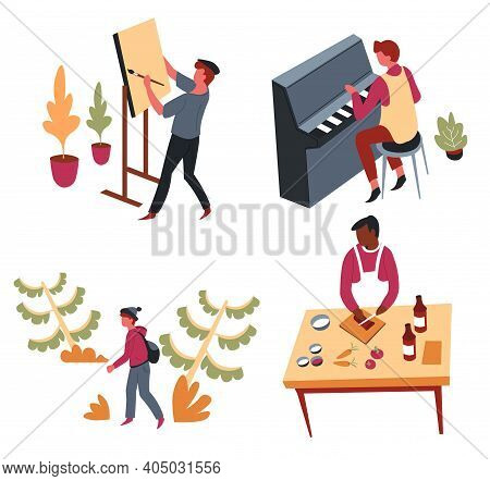 Hobbies Leisure Activity Or Pastime Art And Entertainment Vector Dancing And Handmade Craft Telescop