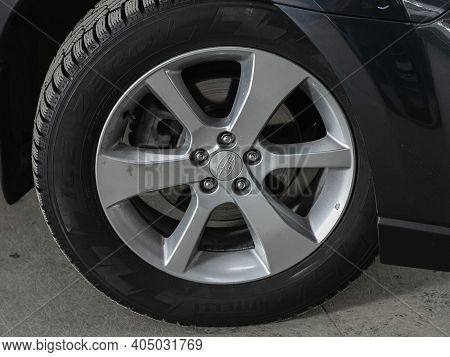 Novosibirsk, Russia - January 14 2021:  Subaru Outback, Close-up Of The Alloy Wheel. Photography Of