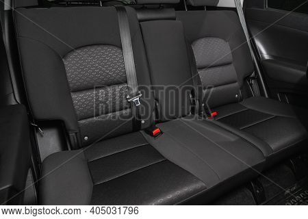 Novosibirsk, Russia - January 14 2021:  Ssangyong Actyon, Comfort Car Inside. Clean Car Interior: Bl