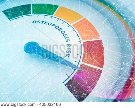 Color Scale With Arrow From Green To Red. Osteoporosis Risk Measuring Device Icon. Sign Tachometer,