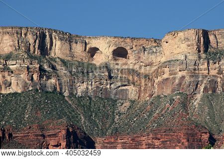 Great Owl Rock Formation In Sandstone Cliff Above Upper Tapeats Campground In Grand Canyon National