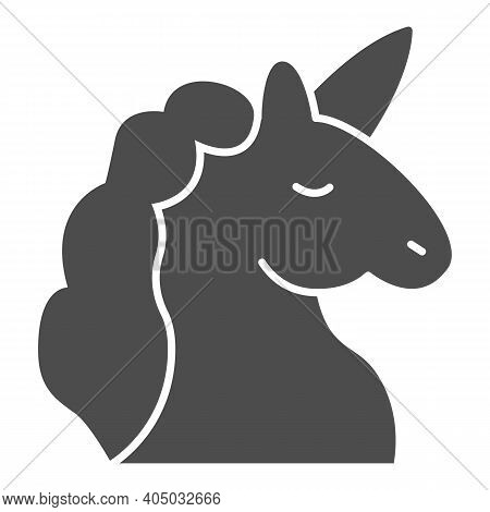 Unicorn Solid Icon, Fairytale Concept, Unicorn Head Silhouette Sign On White Background, Mythical Ho