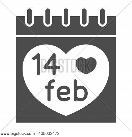 Fourteen February On Calendar Solid Icon, Valentines Day Concept, Desk Calendar With Heart Sign On W