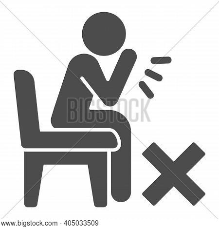 Sick Person Sitting And Coughing Solid Icon, Corona Downturn Concept, Prohibition Of Coughing Withou