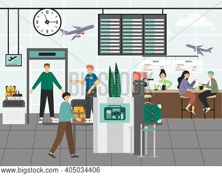 Airport Security Control And Customs Concept Vector Illustration. Security Staff Check Passengres An
