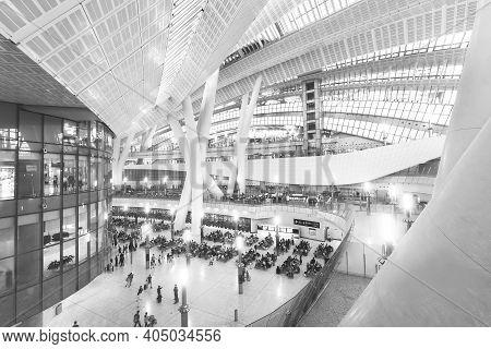 Hong Kong, China - October 05, 2018 : Departure Hall Of Hong Kong West Kowloon Railway Station. This