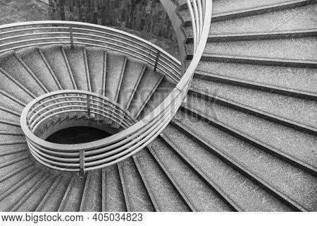 Empty Modern Spiral Stairway, Viewed From Top