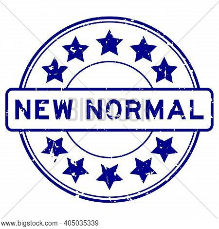 Grunge Blue New Normal Word With Star Icon Round Rubber Seal Stamp On White Background